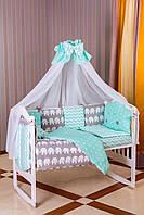 Комплект постельного белья для новорожденных Babyroom бортики 8элем.100%хлопок бирюзовый слоники