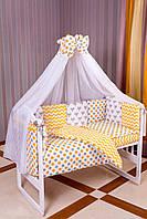 Постельный комплект для новорожденных Babyroom бортики 8элем.100%хлопок оранжевая лисички