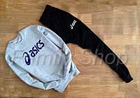 Спортивный костюм Asics Асикс серый с черными штанами (большой принт) (реплика)