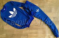 Спортивный костюм Adidas синий (большой принт) (реплика)