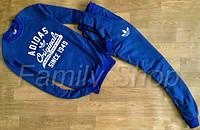 Спортивный костюм Adidas Адидас мужской синий (большой принт) (реплика)