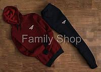Спортивный костюм Reebok Рибок бордовый с черным с капюшоном (реплика)