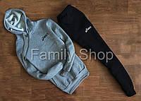 Спортивный костюм Asics Асикс с капюшоном серый верх черный низ (реплика)
