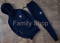 Спортивный костюм Adidas Адидас Темно синий (маленький принт) (реплика)