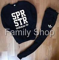 Спортивный костюм Adidas Адидас черный (большой принт) (реплика)