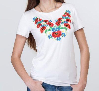 Женская хлопковая футболка -вышиванка