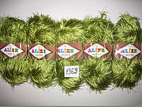 Турецкая пряжа для вязания нитки Alize  DECOFUR (Декафур) травка  1369 зеленый