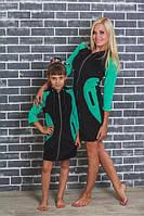 Халат для девочки черный+зеленый, фото 1