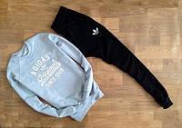 Мужской Спортивный костюм Adidas Originals серый (черный штаны) (реплика)