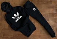 Мужской Спортивный костюм Adidas с капюшоном цвет чёрный (реплика)