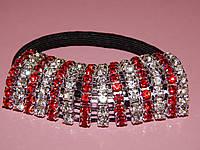 Резинка для волос красные и белые камни 003923, фото 1