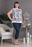 Легкая женская блуза с красивой разрезом на спинке p.52-56 V295-01