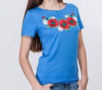 Голубая стрейчевая футболка с вышитым гладью букетом