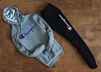 Мужской Спортивный костюм Сhampion с капюшоном (серо чёрный) (реплика)