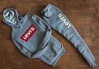 Мужской Спортивный костюм Levis серый c капюшоном (красный принт) (реплика)