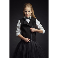 Жилет школьный на молнии для девочки 9535 черный/синий ТМ Зиронька