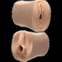 Двусторонний мастурбатор из киберкожи Doc Johnson Jessie Andrews and Julia Ann Ultraskyn, 15х7 см.