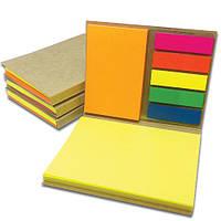 Блокнот 105х80 мм зі стиками Post-It яскравих неонових кольорів та самоклеючими PET закладками, фото 1