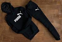 Мужской Спортивный костюм Puma чёрный c капюшоном (белый принт) (реплика)