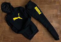 Мужской Спортивный костюм Puma Пума чёрный c капюшоном желтый принт (реплика)