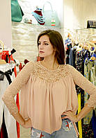 Брендовая Женская блузка пудра ажурная