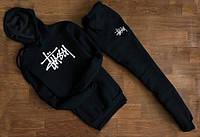 Мужской Спортивный костюм Stussy Стасси чёрный с капюшоном (белый принт) (реплика), фото 1