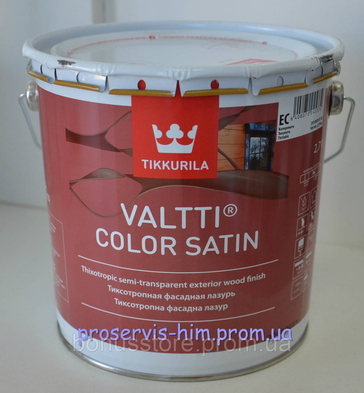 Валтти Колор - антисептик с сатиновым блеском Tikkurila Valtti Color Satin, 2,7л - ПРОФ-ХИМ express в Виннице