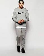Мужской Спортивный костюм Nike Найк серый (большой черный принт) (реплика)
