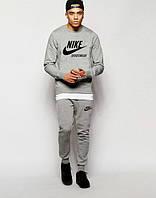Мужской Спортивный костюм Nike Sportswear Найк серый (большой принт) (реплика)