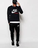 Мужской Спортивный костюм Nike Sportswear Найк чёрный (большой принт) (реплика)