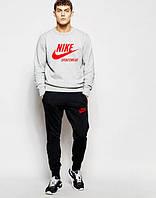 Мужской Спортивный костюм Nike Sportswear Найк серо-чёрный (большой принт) (реплика)