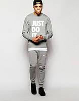 Мужской Спортивный костюм Nike JUST DO IT Найк серый (большой принт)