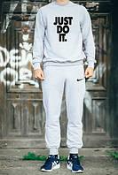 Мужской Спортивный костюм Nike Just Do It Найк серый (большой принт) (реплика)