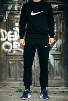 Мужской Спортивный костюм Nike Найк черный (большой принт) (реплика)