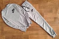 Мужской Спортивный костюм Nike серый (маленький черный принт) (реплика)