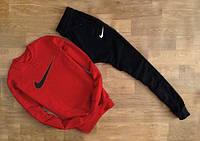 Мужской Спортивный костюм Nike Найк красный с черными штанами (большой принт) (реплика)