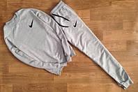 Мужской Спортивный костюм Nike Найк серый (маленький черный принт) (реплика)