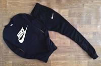 Мужской Спортивный костюм Nike Найк черный (большой белый принт) (реплика)