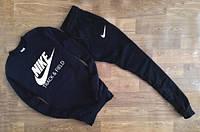 Мужской Спортивный костюм Nike Track&Field черный (большой белый принт) (реплика)