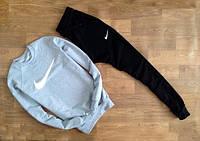 Мужской Спортивный костюм Nike Найк серый (большой белый принт) (реплика)