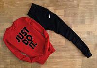 Спортивный костюм Nike Найк красный (большой черный принт) (реплика)