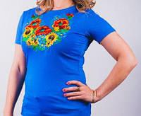 Нарядная футболка с вышитым полевым букетом, фото 1