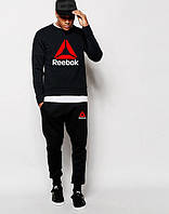 Мужской Спортивный костюм Reebok Рибок чёрный (большой принт) (реплика)