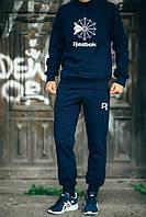 Мужской Спортивный костюм Reebok темно-синий (большой белый принт) (реплика)
