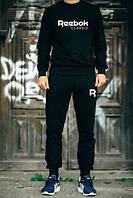 Мужской Спортивный костюм Reebok Рибок Classic черный (большой белый принт) (реплика)
