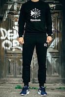 Мужской Спортивный костюм Reebok Рибок черный (большой белый принт) (реплика)
