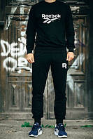 Мужской Спортивный костюм Reebok Рибок черный (большой белый принт)