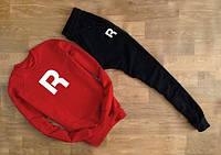 Мужской Спортивный костюм Reebok Classic красный с черными штанами (большой белый принт) (реплика)