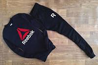 Мужской Спортивный костюм Reebok Рибок черный (большой принт) (реплика)