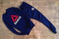Мужской Спортивный костюм Reebok Рибок темно-синий (большой принт) (реплика)